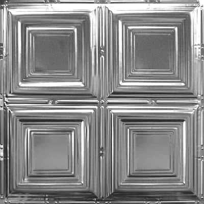 Pattern #1 in Brushed Satin Nickel 2 ft. x 2 ft. Nail Up Tin Ceiling Tile (20 sq. ft./Case)