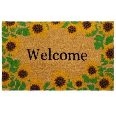 Welcome With Sunflowers Indoor/Outdoor Printed Coir Mat