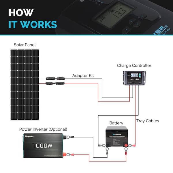 Renogy 200 Watt 12 Volt Monocrystalline, 12 Volt Rv Solar Panel Wiring Diagram