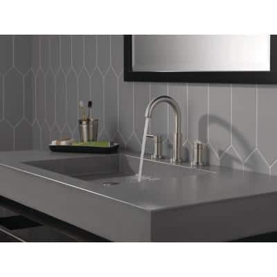 Nicoli J-Spout 8 in. Widespread 2-Handle Bathroom Faucet in Stainless
