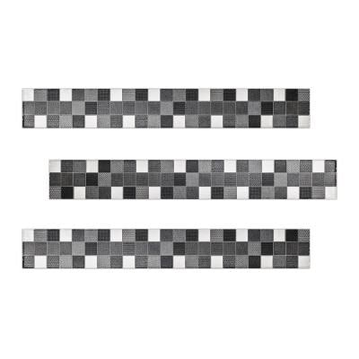 Steel 2 in. x 16 in. Black, Grey and White Multicolor Ceramic Decorative Listello Wall Tile (3-Pack)