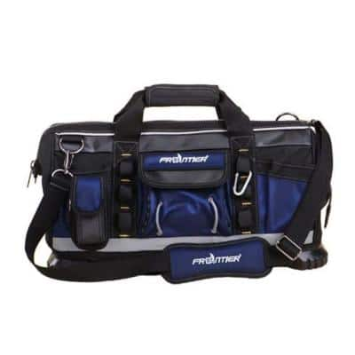 19 in. Zippered Tote Tool Bag in Black and Blue