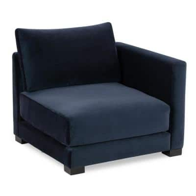 Shelby Oxford Blue Fabric 3-Seater Sectional Sofa Blue Right Arm Chair