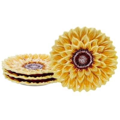 Sunset Sunflower Multi-color 3-D Dessert Plate (Set of 4)