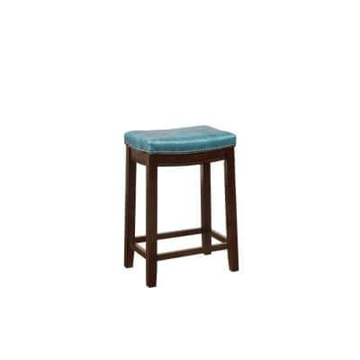 26 in. H Blue and Brown Wooden Counter Stool with Faux Leather Upholstery
