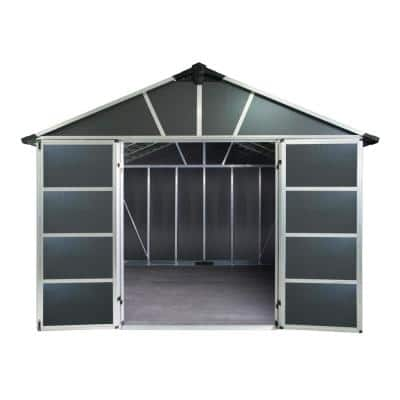 Yukon 11 ft. x 17 ft. Dark Gray Large Garden Outdoor Storage Shed with Floor