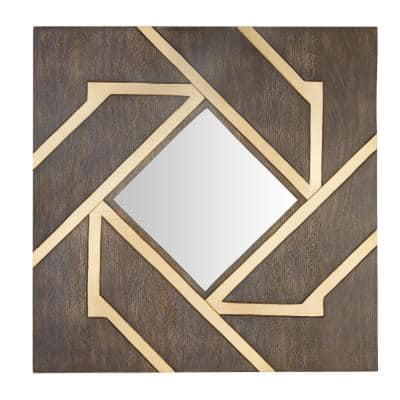 Medium Square Brown Modern Accent Mirror with Gold Inlay (30 in. H x 30 in. W)