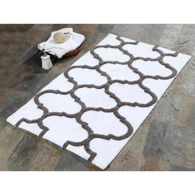 50 in. x 30 in. Bath Rug Cotton in White and Gray