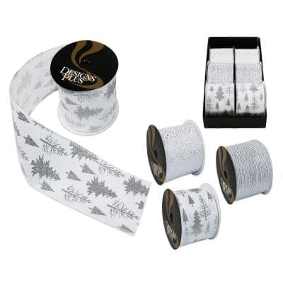 4 in. x 30 ft. White/Silver Jumbo Wire Edge Xmas Ribbon (6-Pack)