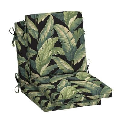 18 in. x 20 in. Outdoor High Back Dining Chair Cushion in Onyx Cebu (2-Pack)