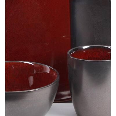 Volterra 16-Piece Modern Red Ceramic Dinnerware Set (Service for 4)
