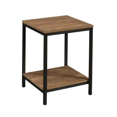North Avenue 15.512 in. Sindoori Mango Square Engineered Wood End Table with Metal Frame