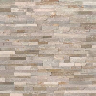 Golden Honey Mini Ledger Panel Corner 4.5 in. x 9 in. Natural Split Face Quartzite Wall Tile (4 sq. ft. / case)