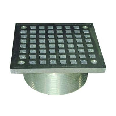 3-1/2 in. IPS Brass Spud with 5 in. Square Strainer in Polished Brass for Shower/Floor Drains