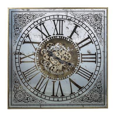 Arria Randall Square Wall Clock - Silver, Gold
