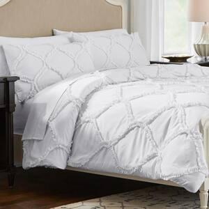 Emma 3-Piece Bright White Ruffle Ogee Full/Queen Comforter Set