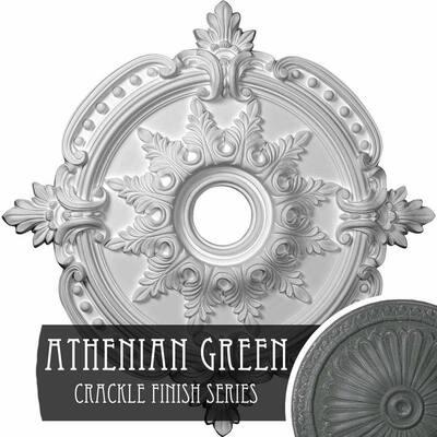"1-5/8"" x 28-3/8"" x 28-3/8"" Polyurethane Benson Classic Ceiling Medallion, Athenian Green Crackle"