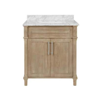 Aberdeen 30 in. x 22 in. D Bath Vanity in Antique Oak with Carrara Marble Vanity Top in White with White Basin