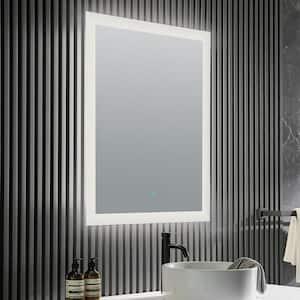 Olympus 24 in. W x 36 in. H Frameless Rectangular LED Bathroom Mirror with Defogger in Silver