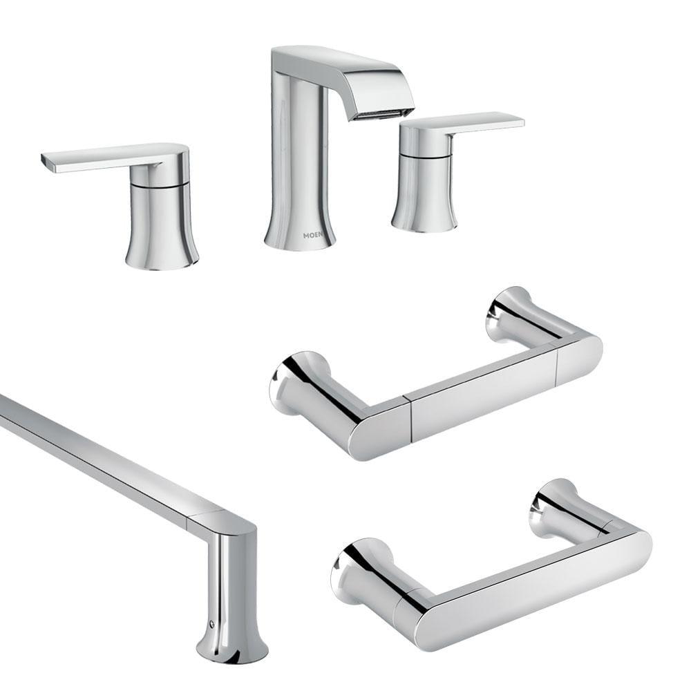 Moen Genta 8 In Widespread 2 Handle, 3 Piece Bathroom Faucet