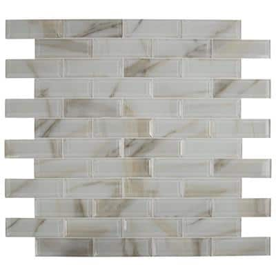 Ivory Amber Beveled 2x6 Subway 11.81 in. x 11.81 in. x 8 mm Glossy Glass Mesh-Mounted Mosaic Tile (9.7 sq. ft./Case)