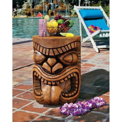 The Lono (Tongue) Grand Tiki 20.5 in. H Sculptural Polyresin Outdoor Side Table
