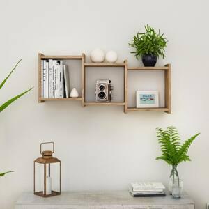 Bauhaus Weathered Oak MDF Wood 3-Cube Floating Wall Shelf