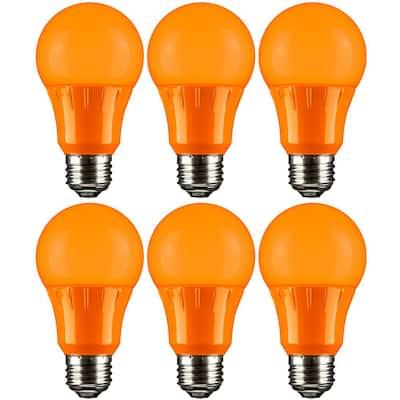 22-Watt Equivalent A19 LED Orange Light Bulbs Medium E26 Base in Orange (6-Pack)