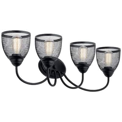 Voclain 5 in. 4-Light Black Vanity Light with Mesh Shade