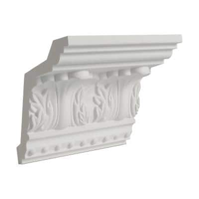 5 in. x 4-3/8 in. x 6 in. Long Acanthus and Dots Polyurethane Crown Moulding Sample
