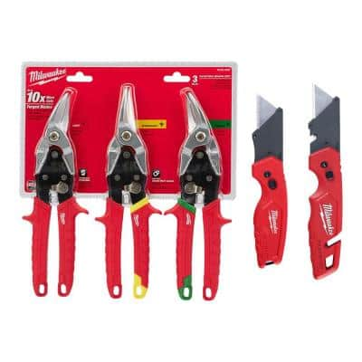 Left, Right and Straight Aviation Snips with Utility Knife's (5-Pack)