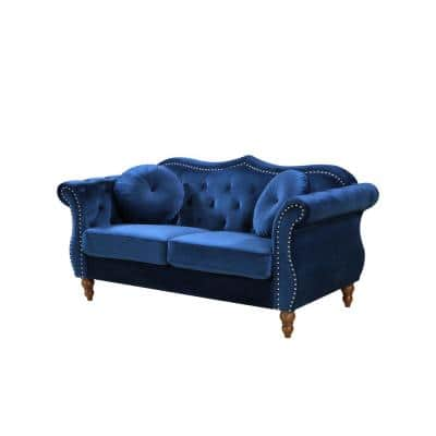 Bellbrook 65.5 in. Blue Velvet 2-Seater Chesterfield Loveseat with Removable Cushions