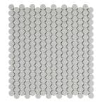 Cascades Silken Gray 12.5 in. x 11.5 in. Penny Round Matte Porcelain Mesh-Mounted Mosaic Tile (1.00 sq. ft./Each)