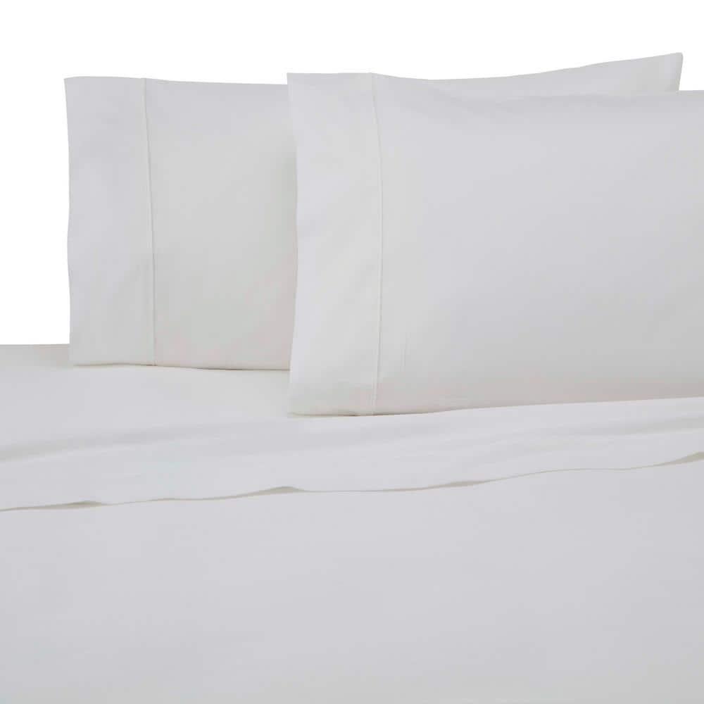 Modern Living Modern Living 3 Piece True White Solid 300 Thread Count Cotton Twin Sheet Set 028828055569 The Home Depot