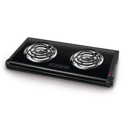 2-Burner 12 in. Black Hot Plate with Temperature Controls