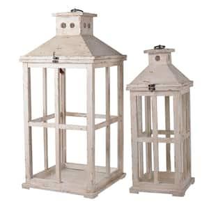 Reed White Candle Lanterns (Set of 2)