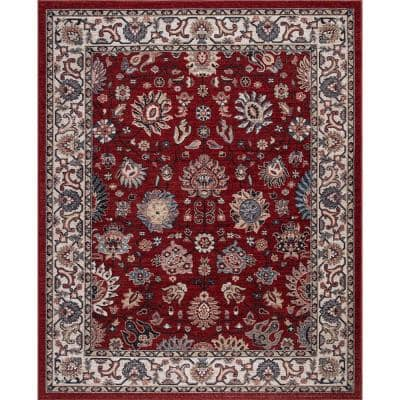 Gramercy Red 5 ft. x 7 ft. Flroal Area Rug