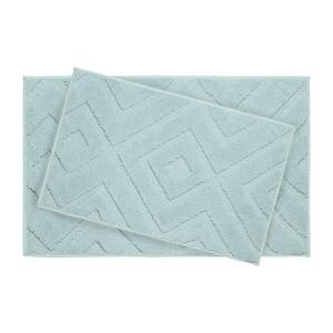 Lilah Aqua 21 in. x 34 in. 2-Piece Bath Mat Set
