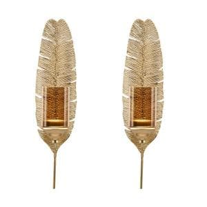 Ava 17 in. Gold Feather Wall Candle Sconces (Set of 2)