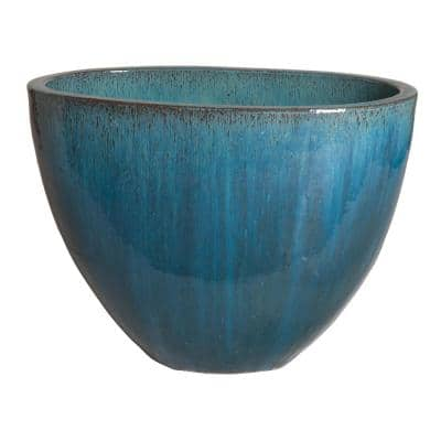 21 in. Blue Oval Ceramic Planter