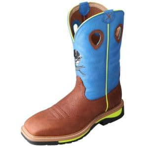 Twisted X Men S Lite Western 12 In Work Boots Steel Toe Cognac Blue Size 12 Ee Mlcs006 Ee 12 The Home Depot