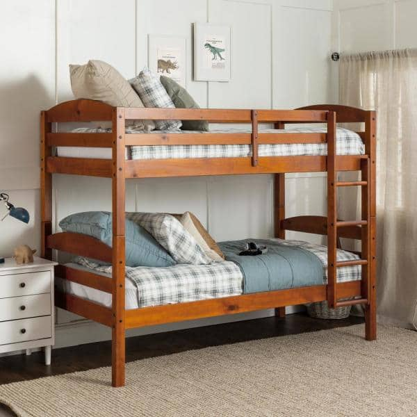 Walker Edison Furniture Company Traditional Solid Wood Twin Over Twin Bunk Bed Cherry Bwstotch The Home Depot