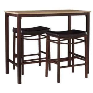 Betty 3-Piece Rustic Brown Bar Table Set
