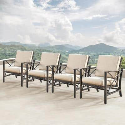 Modern Antique Copper Rocking Aluminum Outdoor Lounge Chair with Beige Polyester Cushions (4-Pack)