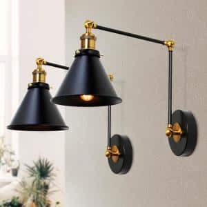 1-Light Modern Black and Gold Wall Lamp Adjustable Plug-In Industrial Wall Sconce with Swing Arms(2-Pack)