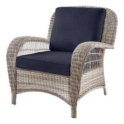 Beacon Park Gray Wicker Outdoor Patio Stationary Lounge Chair with CushionGuard Midnight Navy Cushions