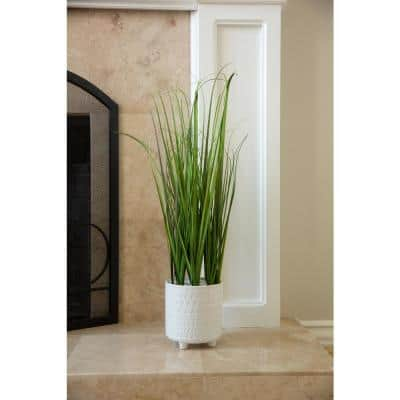 28 in. Artificial Onion Grass in 6 in.X 6 in. PHARAOH Footed Ceramic Pot