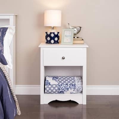 Monterey 1-Drawer White Nightstand