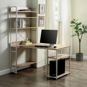 55 in. Rectangular Oak/White Computer Desk with Hutch