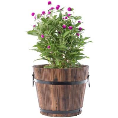 Small Wooden Whiskey Barrel Planter, 12 in. Dia 10 in. High